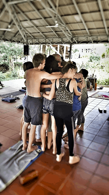 group hug at the Vagabond Temple, Cambodia